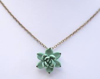 Dusty Mint Succulent Simple Drop Necklace. Dusty Mint Pendant Succulent Necklace. Succulent jewelry