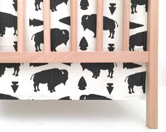 Crib Skirt Buffalo and Arrowheads. Baby Bedding. Crib Bedding. Crib Skirt Boy. Baby Boy Nursery. Buffalo Crib Skirt. Charcoal Crib Skirt.