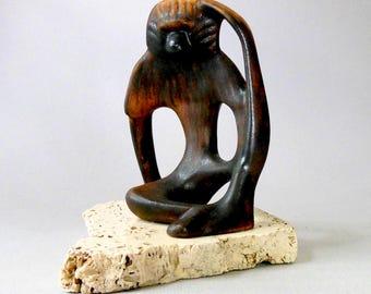 Vintage Maigon DAGA Orangutan Ape Chimp Monkey Large Rare Studio Art Pottery Animal Figure Brown Stone Base Handmade Signed Mint MN artist