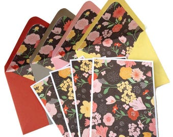 Set of 4 // Blank Note Cards // Floral Note Cards // Blank Stationery // Floral Stationery // Lined Envelopes // Floral Cards / A2 Envelopes