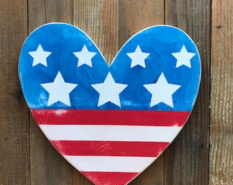Americana-Heart-Patriotic Heart-Stars and Stripes-Stars-Red White and Blue-12x12""