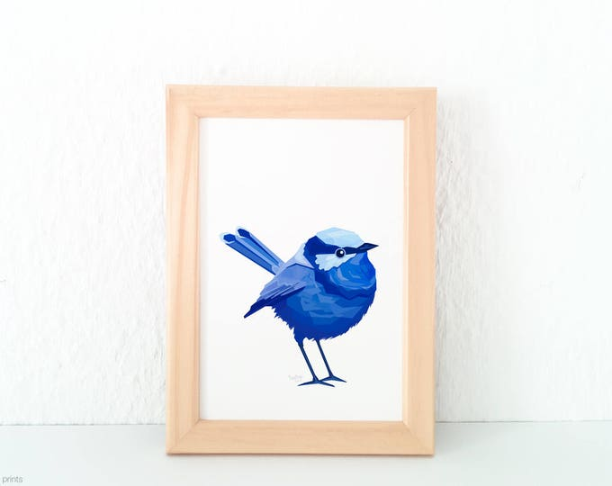 Splendid fairy wren print, Blue wren illustration, Fairy wren, Geometric wren art, Blue wall art, Australian bird art, Australian wren art