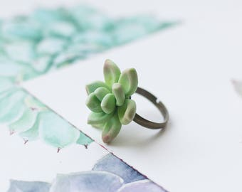 Succulent ring - nature inspired ring - botanical ring - terrarium ring - statement rings - plant ring - succulent jewelry - tropical ring