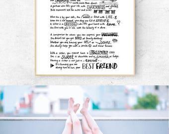Sister Poems, Gift for Sisters, Sister love, best sister, sisterhood, lettering, typography, family poems, family love, Hand Lettered Art