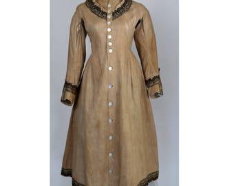 Antique Victorian Linen Dress Bustle Wrapper 1880s 1870s