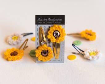 Sunflower Crochet Hair Clips