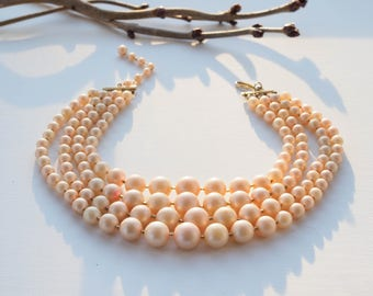 Vintage Faux Pearl Necklace/ Vintage Necklace/ 1950s Pearl/ 50s Necklace/ Retro Necklace/ Faux Pearl Necklace/ Multi Strand Pearl/ Jackie O
