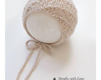 Newborn bonnet , knitted baby bonnet, photo props