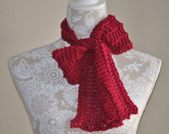 Narrow Red Scarf, Hand Knit Skinny Neckwarmer, Clothing Accessory, Lacy Scarf, Winter Accessory
