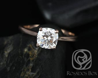 Rosados Box DIAMOND FREE Skinny Florence 6.5mm 14kt Rose Gold Cushion F1- Moissanite Tulip Cathedral Solitaire Engagement Ring