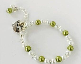 Green Flower Girl Bracelet, Green Wedding, Flower Girl Gifts, Gifts for Flower Girls, Flower Girl Gift Ideas, Flower Girl Jewellery