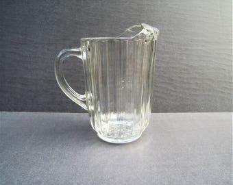 Vintage Glass Pitcher, Heavy Clear Glass Refrigerator Pitcher, Beer Pitcher, Water Pitcher, Ribbed Glass, Retro Glass Decanter, Farmhouse