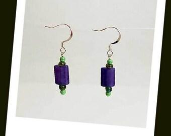 lime green purple Malaysia jade earrings lime green earrings hypoallergenic earrings nickel free earrings seed bead earrings