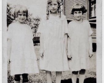 Old Photo Girls wearing Dresses one with Ringlets 1920s Photograph Snapshot vintage