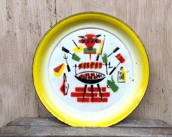 Big Enamel Platter - Colorful Vintage Barbecue Enamelware Serving Tray