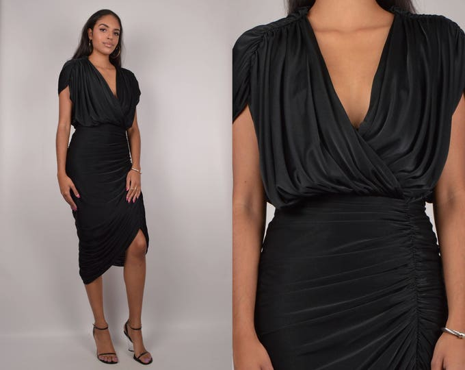 Vintage Black Ruched Cocktail Dress