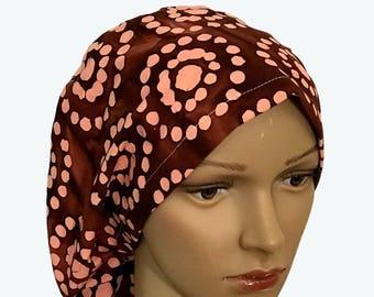 Euro Scrub Hat - Beautiful Tie Dye Light Peach Pink Polka Dot Flowers on Brown Scrub Hat for women - Slouchy hat with Tie Dye Design