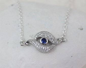 Evil Eye Necklace. Sterling Silver Blue Eye Evil Necklace, Celebrities Jewelry. Evil Eye Jewelry