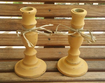 Pair of Shabby chic Sherbet Wood Up Cycled Vintage candle stick holders