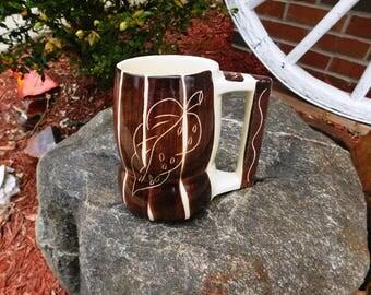 Vintage Purinton Pottery Brown Slipware Intaglio Grandmug or Beer Mug Tankard Stein - ca 1950 - from DustyMillerAntiques