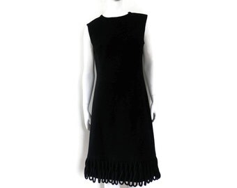 Space Age Tent Dress Heavy Black Wool with Looped Fringed Hem Breakfast-at-Tiffany's Style