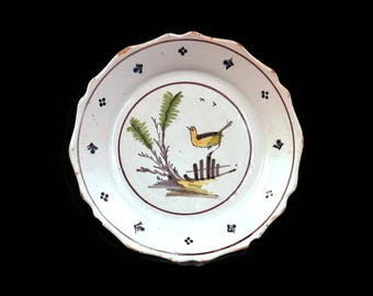 19th Century French Faience Plate w/Yellow Bird  French Pottery Tin Glazed