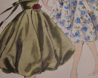 Vintage 1950's, 60's Vogue 9875 Dress Sewing Pattern, Size 12, Bust 32