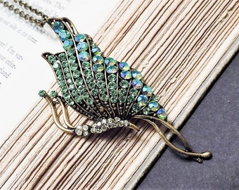 Green and Bronze Vintage Butterfly Pendant
