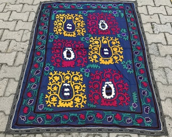 3.67' x 4.92' Suzani Vintage Suzani Old Embroidery Suzani Wall Hanging Uzbek Suzani Table Cover Ethnic Suzani FAST SHIPMENT with UPS - 11005