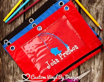 Ships Free! Personalized Pencil Pouch for 3 Ring Binder, Clear Pencil Bag, Pencil Bag Kids, Pencil Bag Monogram, Pencil Bag for School