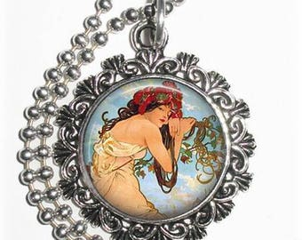 Ethereal Lady Art Pendant, The Summer Art  by Alphonse Mucha , Round & Silver Photo Charm