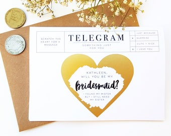 ANY CUSTOM MESSAGE - Will You Be My Bridesmaid - Baby Reveal - Wedding - Pinterest - Gold Heart Scratch It