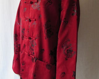 XXL ASIAN JACKET Red Black High Fashion Frog Buttons