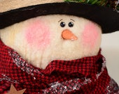 Chilly Burlap Snowman, Primitive Snowman, Folk Art Snowman