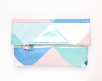 Large leather bag. Fold over clutch. Geometric purse. Statement bag.Metallic natural leather. Mixed texture bag. Pastel handbag. /PRISM 32