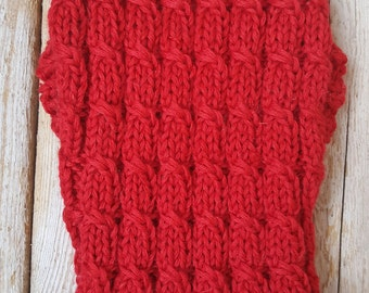 Red Cable Knit Dog Sweater-Knitted Dog Sweater-Dog Coat-Christmas Dog Costume-Dog Clothes Size S- Back Length 12""