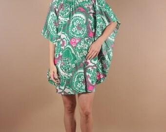 60s Psychedelic Batwing Accordion Pleat Dress | 60s Boho Floral Dress | Avant Garde Op Art Dress