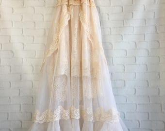 blush nude bisque lace embroidered organza boho wedding dress by mermaid miss Kristin