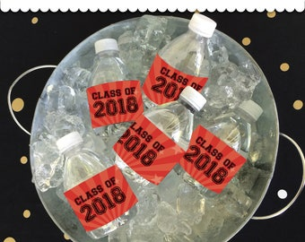 Graduation Bottle Wrappers Red & Black Instant Download printable PDF