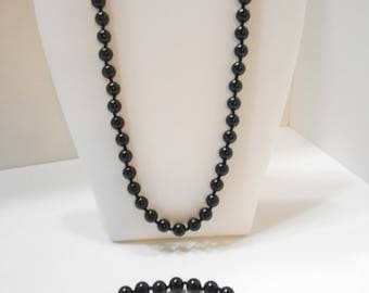 Gorgeous Black Beaded Demi Parure (2156) Necklace & Bracelet, 7mm Individually Knotted