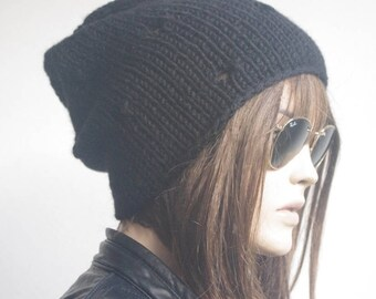 Womens hats, winter hat, oversize cable Knit Hat black Winter Accessories, Women Slouchy Hat, valentines day
