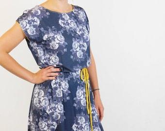 Beach Tunic, Gray Flower Dress, Flower Mini Dress, Tunic Dress, Beach Dress, Belted Dress, Gray Tunic Dress, Gray Summer Dress, Gray Dress