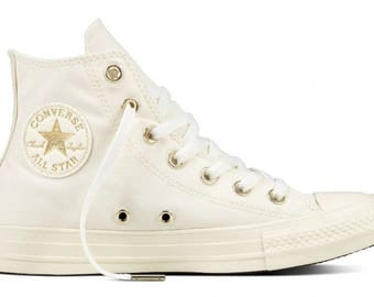 Ivory White High Top Converse Wedding Light Gold Canvas w/ Swarovski Crystal Bride Chuck Taylor Rhinestone Bling All Star Sneakers Shoes