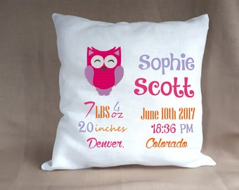 Birth Announcement Baby Girl Stats Pillow / Personalized Nursery Newborn Linen Pillow Baby Gift with Owl