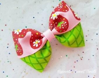 Strawberry hair bow, Ice Cream Party, Summer hair bow, 1st Birthday Girl Clip, Toddler Headband, Kawaii Hand Painted bow, hair bow for girls