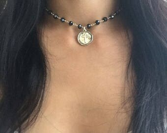 Black Rosary chain choker, rosary style necklace, black choker, cross charm, layered necklace, Black Beaded Rosary, Rosary chain, choker