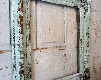 Ornate distressed wood frame wall hanging shabby cottage chic painted sea foam green w/ white wedding or home decor anita spero design