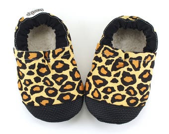 leopard shoes, cheetah shoes, jungle cat, punk rock baby, soft sole shoes, leopard slippers leopard moccs, rubber sole shoes, red shoe soles