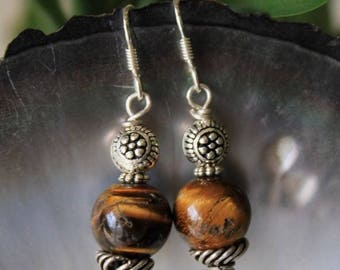 Ethnic earrings in 925 worked with silver Tiger eye stones