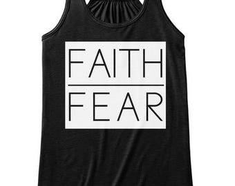 Faith Over Fear, Faith Scripture Tank Top, Modern, Women Workout Apparel, Illustrated Faith Christian T-shirt, Fitness Gift for Her